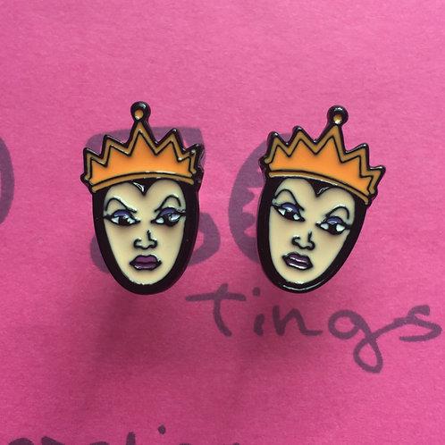 Evil Queen Metal Stud Earrings