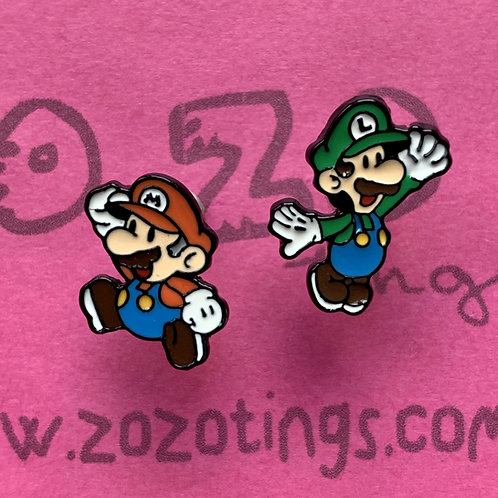 Mario & Luigi Metal Stud Earrings