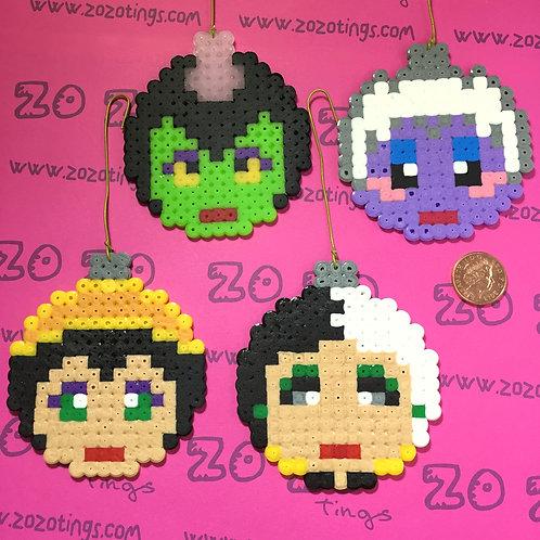 Disney Villains Christmas Pixel Baubles