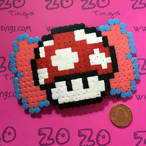 Mario Mushroom Pixel Hair Bow