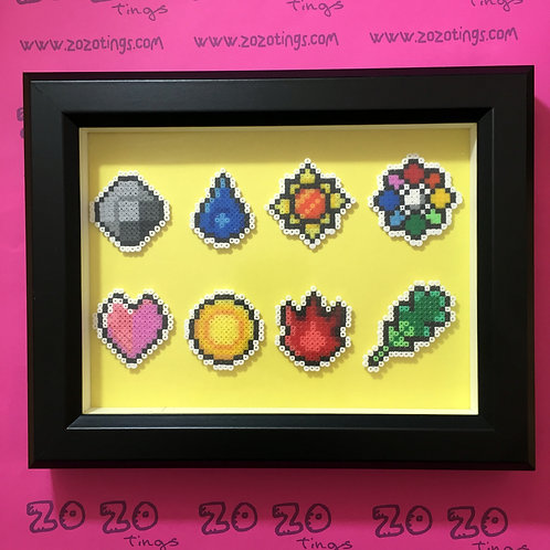 Pokemon Gym Badges Pixel Frame