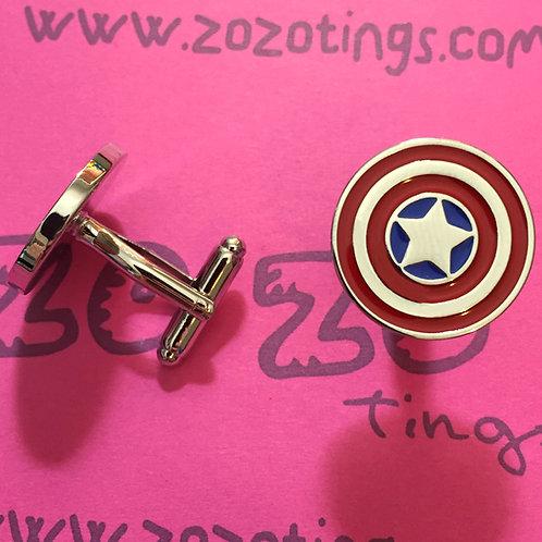 Captain America Shield Metal Cufflinks