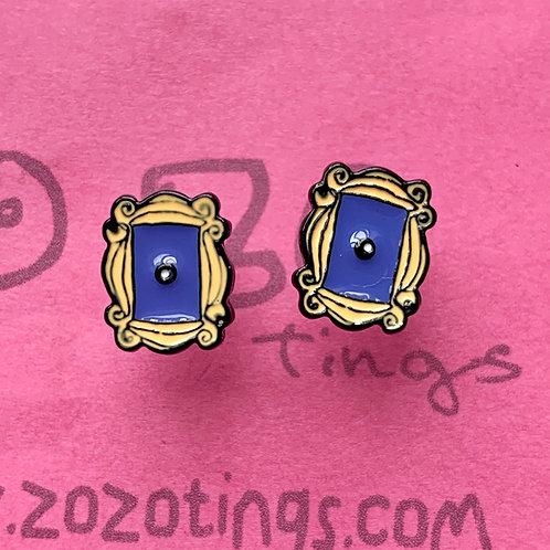 Friends Yellow Door Frame Metal Stud Earrings