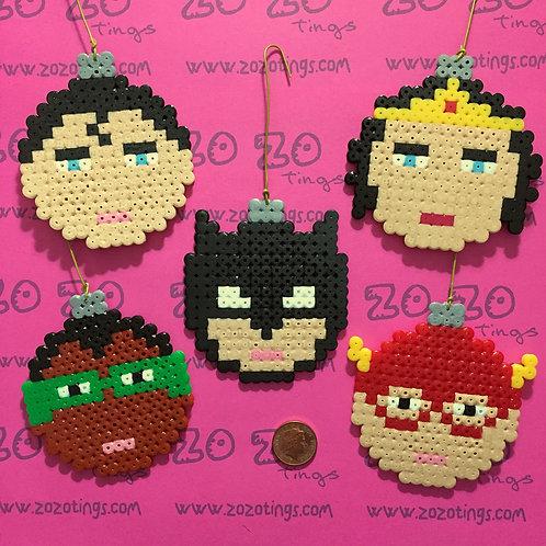 Justice League Christmas Pixel Baubles