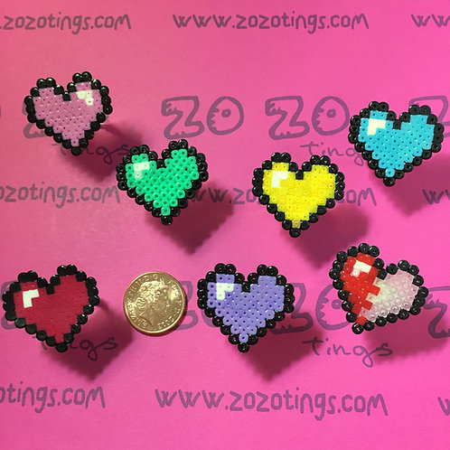 Zelda Heart Pixel Rings