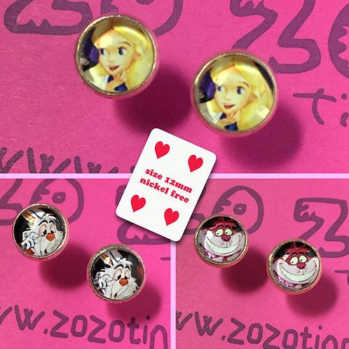 Alice In Wonderland Stud Earrings