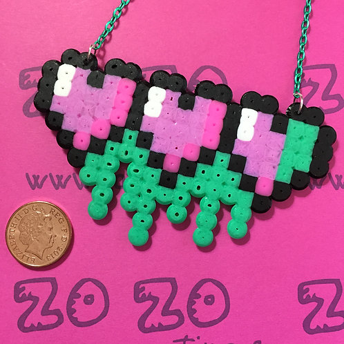 Zombie Hearts Pixel Necklace