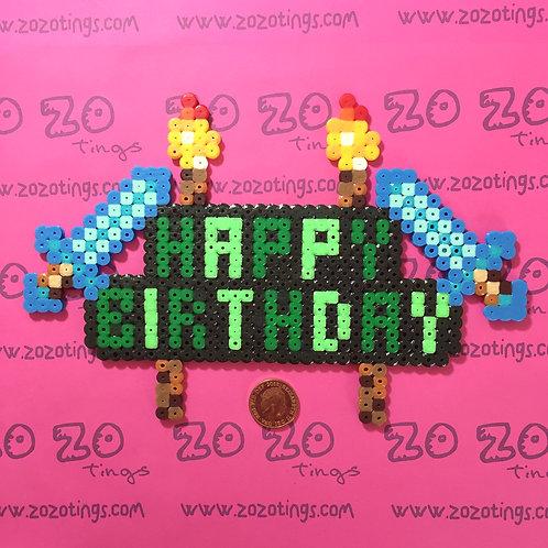 Minecraft Happy Birthday Pixel Cake Topper