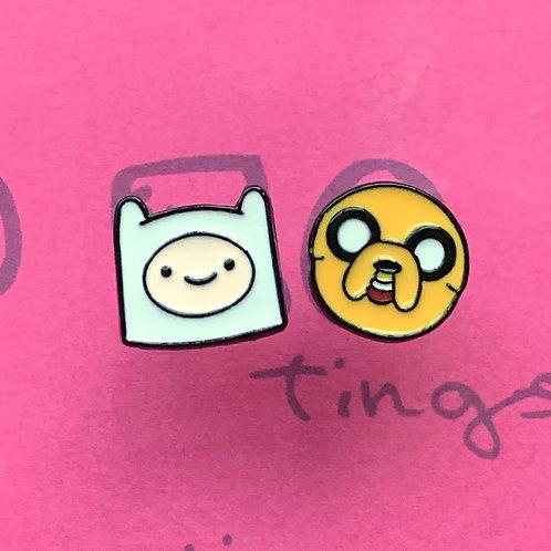 Adventure Time Finn & Jake Metal Stud Earrings
