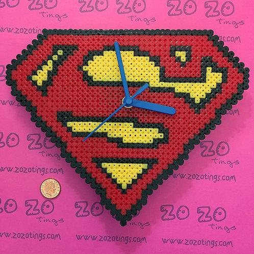 Superman Shield Pixel Clock