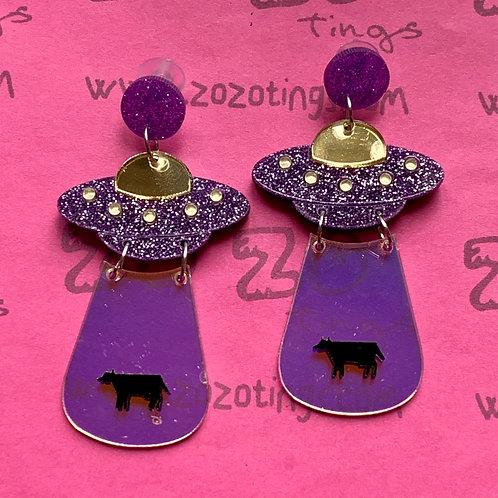 UFO Purple Cow Abduction Stud Earrings