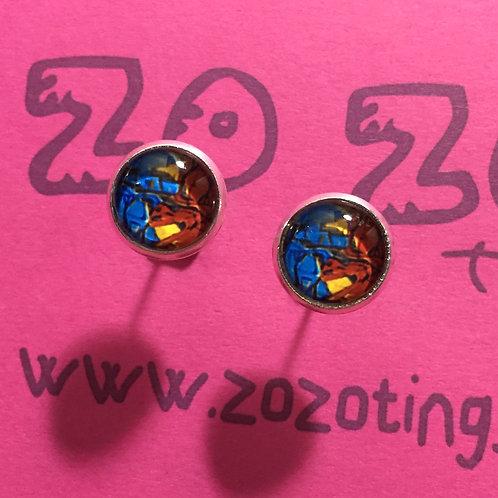 Halo Red Vs. Blue Stud Earrings