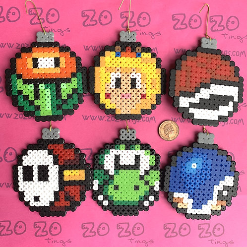 Mario Christmas Set 3 Pixel Baubles