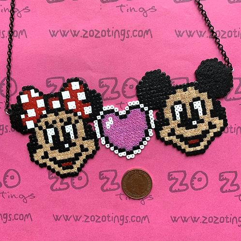 Mickey & Minnie Mouse Pixel Necklace