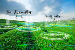 Agriculture drone scanning area to spray