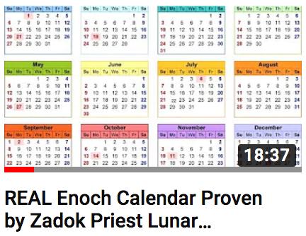 Real Enoch Calendar Verified by Zadok Priest Lunar Markers
