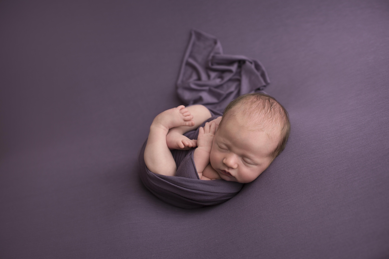 newborn on purple