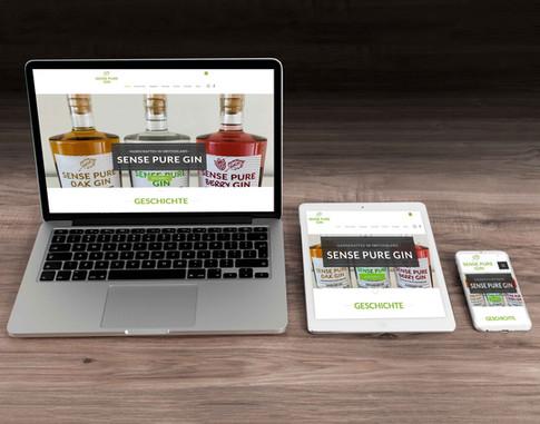 Webseiten Konzept und Umsetzung für Sense Pure Gin Neuenegg