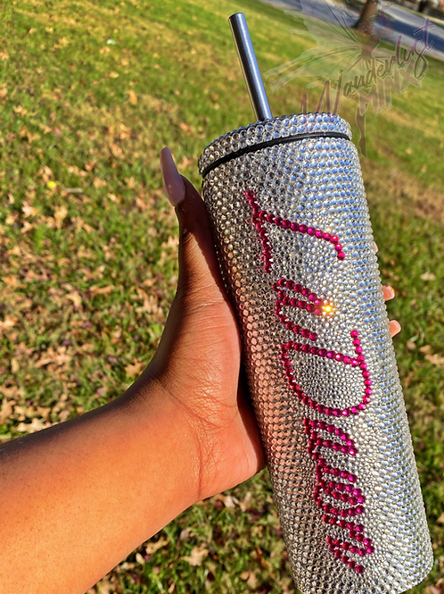 20oz Stainless Steel Bling Tumbler W/Name