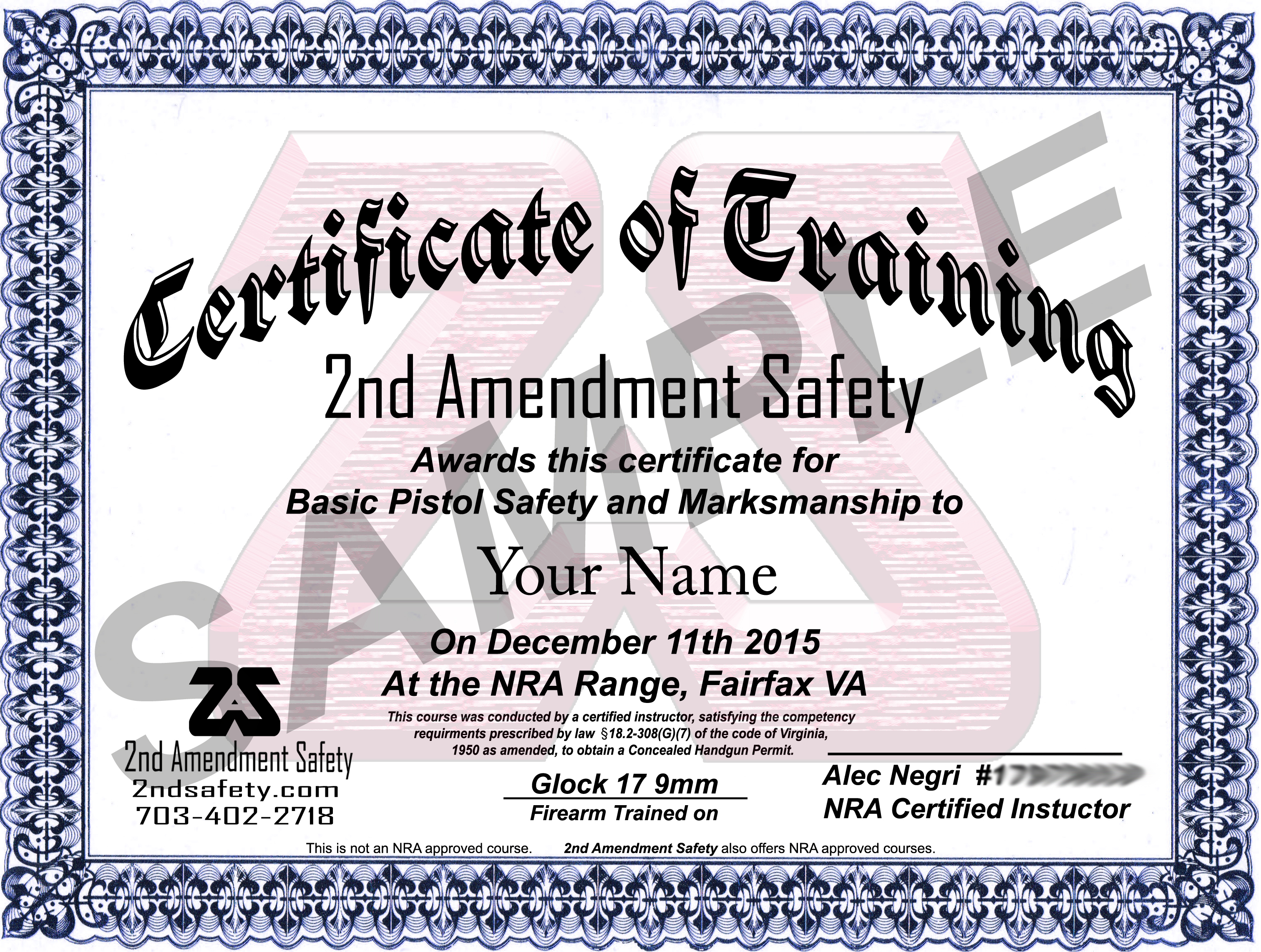 2AS certificate sample