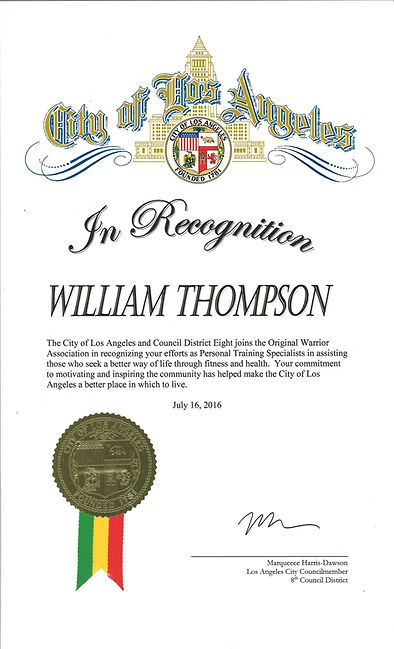 Certificate of Recognition from the City of Los Angeles presented to Personal Training Specialist William Thompson