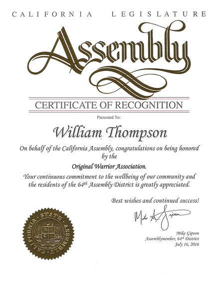 California State Assembly Certificate of Recognition to Pro Trainer William Thompson