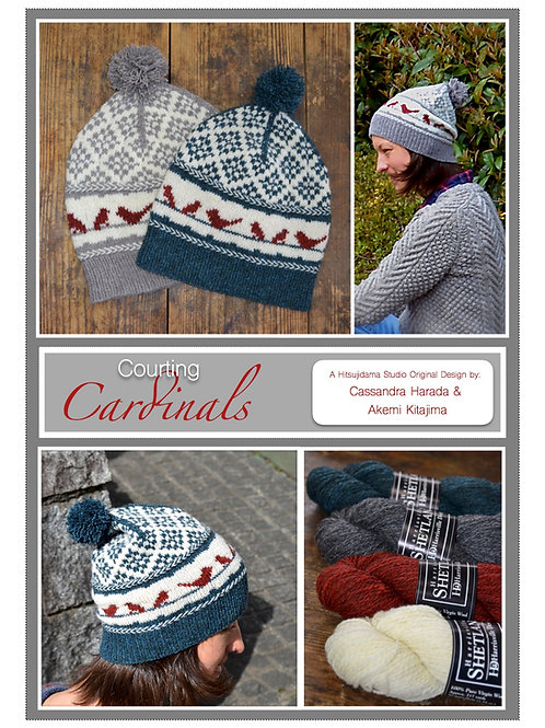Courting Cardinals 手編み帽子パターン Courting Cardinals Hat Pattern