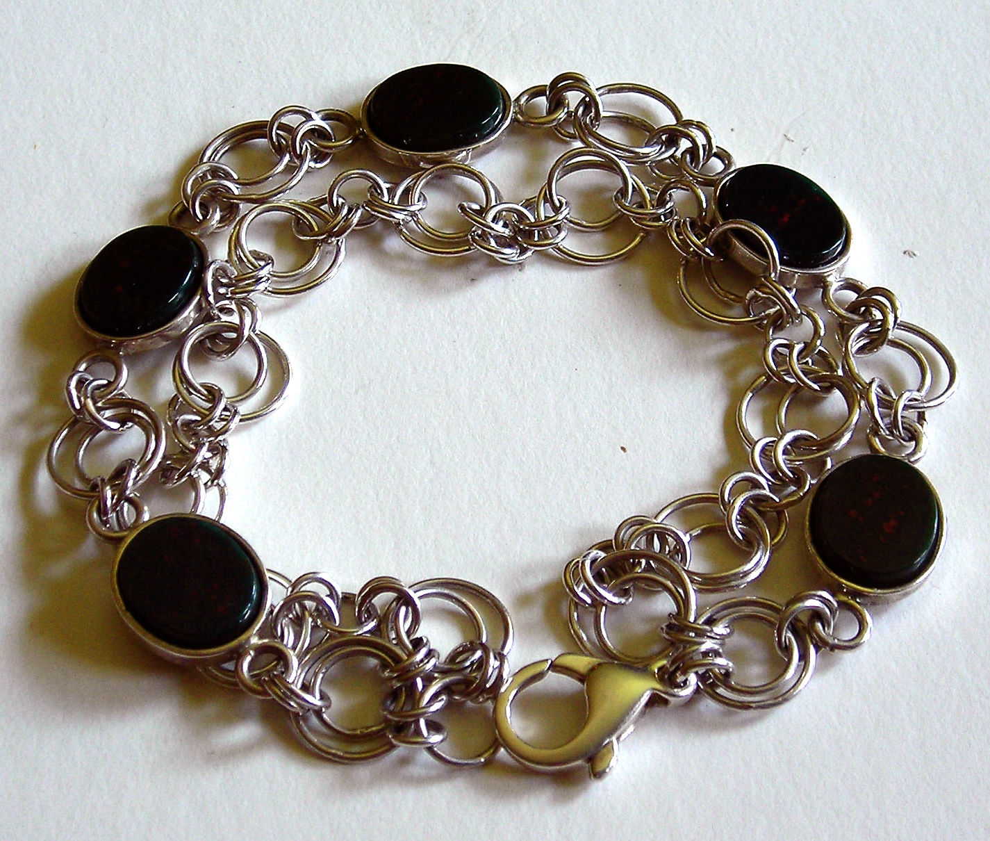 Silver and Bloodstone Bracelet