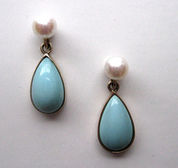 Turquoise Earrings with Pearls