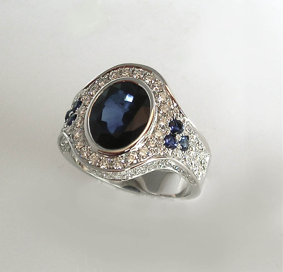 Big, Blue Sapphire and Diamond Ring
