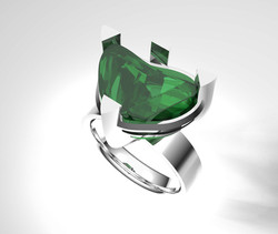 The Unpolished Emerald Crystal Ring