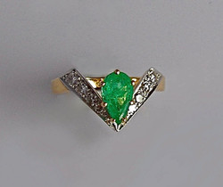 Pear Emerald and Diamond Ring