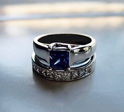 Sapphire and Diamond Wedding Set