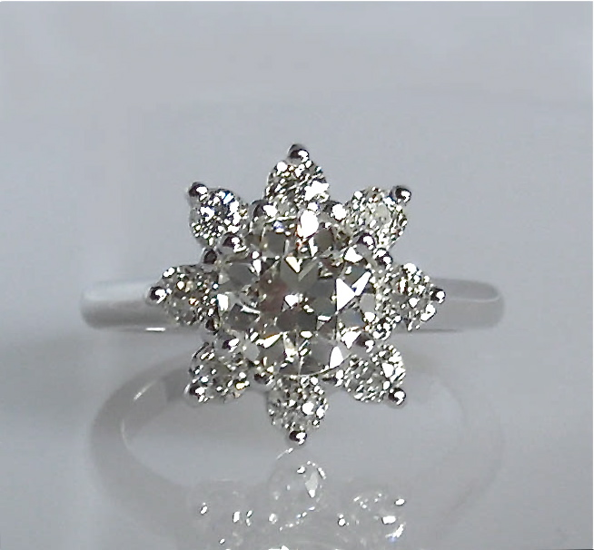 Flower Petal/Starburst Diamond Ring