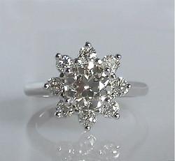 Flower Petal/Starburst Diamond Ring