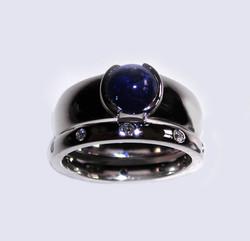 Wedding Set in Sapphire and Diamonds