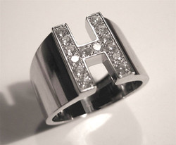 H-Ring with Platinum and Diamonds