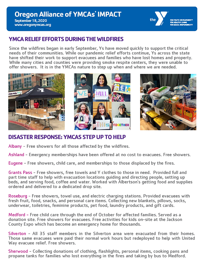 OR YMCA Wildfire Imact Report - Sept 202