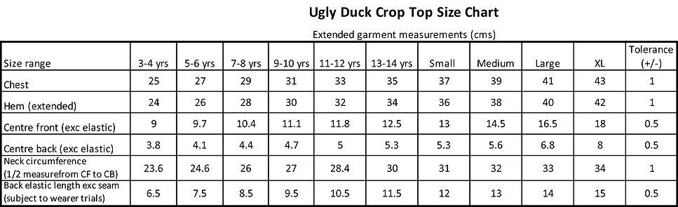 Bespoke Crop Top Size Chart Ugly Duck.jp