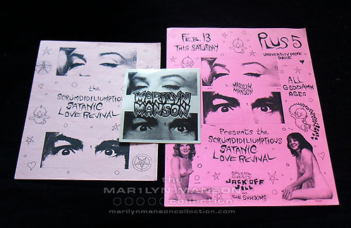 Scrumdidiliumptious Satanic Love Revival 1993 Original Flyer Sticker Program Set