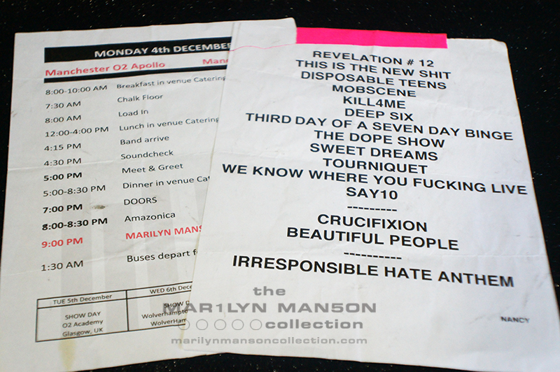 Manchester Time Sheet and Setlist