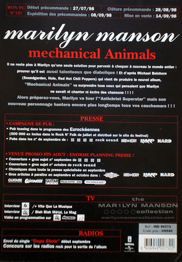 Mechanical Animals Press One Sheet