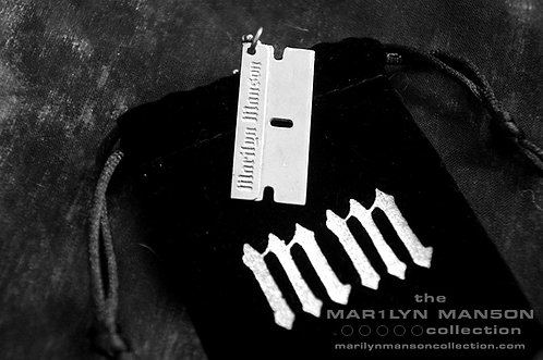 Silver Razorblade Necklace And Pouch
