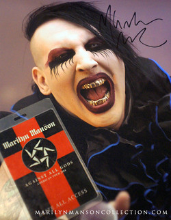 Marilyn Manson Signed Photo & Pass