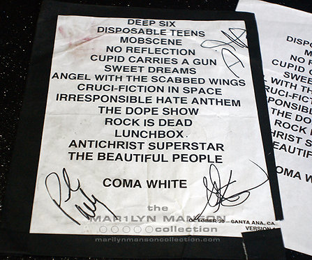 Stage Used And Signed Setlist With Manson's Blood