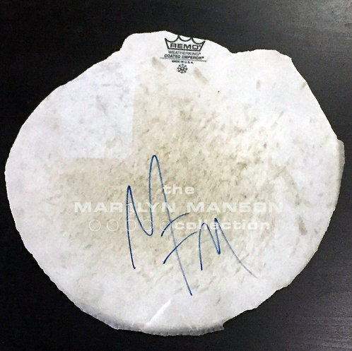Stage Used Drumskin Signed by Marilyn Manson