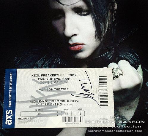 Marilyn Manson and Twiggy Ramirez Signed Freaker's Ball Halloween Ticket