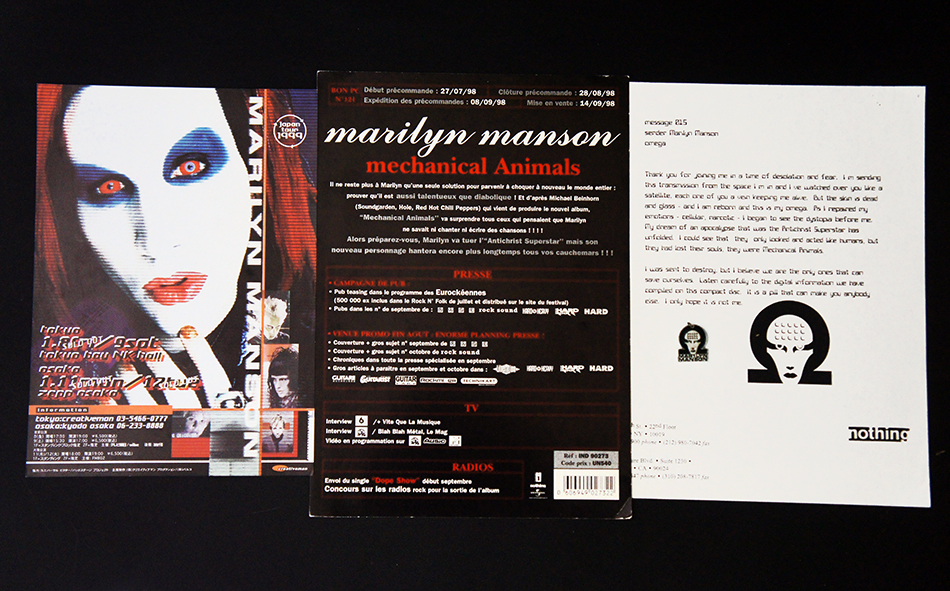 Mechanical Animals Promo Sheets