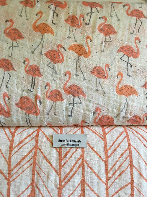 Flamingo Tickled Pink; Coral, Grey, or Herringbone - Embrace Double Gauze