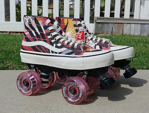 Custom Vans Outdoor Roller Skates - Palm Floral Decon